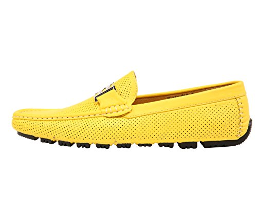 Amali Mens Perforated Smooth Driving Moccasin, Comfort Loafer, Bright Colored Driver Shoe, Style Harris Yellow