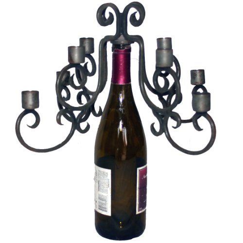 Old River Road Wine Bottle Candelabra, Holds Eight Candles