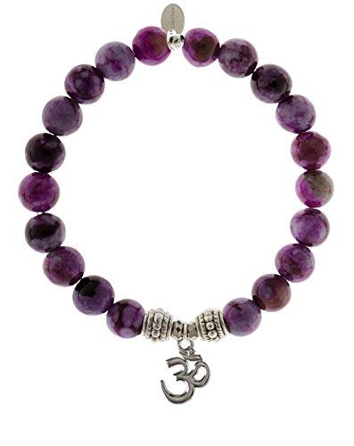 EvaDane Natural Semi Precious Sugilite Gemstone Rope Bead Om Charm Stretch Bracelet - Size 8 Inch ( 1_SUG_S_R_OM_8)