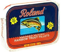 Rainbow Trout Fillets - Roland Rainbow Trout Fillets Smoked Sliced, In Pure Olive Oil, 3.75 oz (Pack of 10)