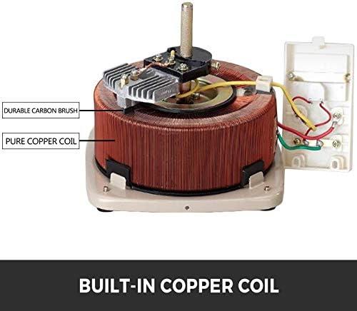 VEVOR 1KVA Variable Output Transformer 220V AC w/Copper Coil Variac Toroidal Core variac variable transformer 2 Type Single Phase Voltage Output Meter with Fuse