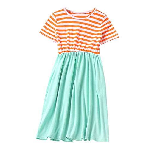 MALLOOM Child Girls Short Sleeve O-Neck Splicing Skirt Family Clothes Dress Orange