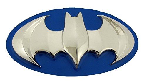 Batman 3d Silver Blue Belt Buckle Official Dark Knight (Batman 3d Silver Bat in Blue Oval Shiny Finished)