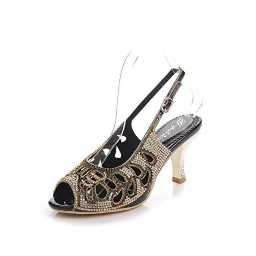 Meijili Sandalias Heels Meijili Mujer Sandalias Black 1FwqTFd
