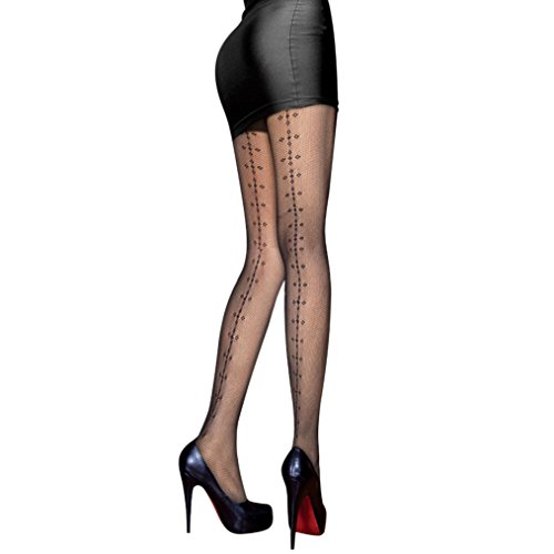 [Rosemarie Collections Women's Costume Backseam Detail Black Fishnet Tights] (Best Halloween Costumes For Moms)