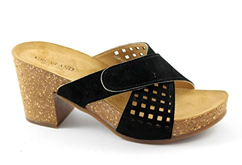 Grünland GRUP CB0638 sandalias negras pezuñas mujer desgarro Nero