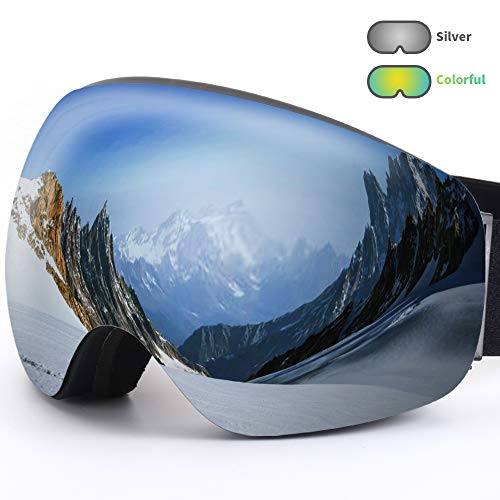 Acehome Adult OTG & Helmet Compatible Ski Goggles for Skiing Snowboarding Snowmobile Skating Winter Sports, 100% UV400 Protection & Anti-Fog & Windproof & Anti Glare (Silver)
