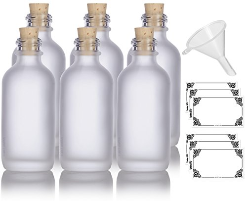 2 oz Frosted Clear Glass Boston Round Cork Stopper Bottle (6 pack) + Funnel and Labels for cosmetics, serums, essential oils, aromatherapy, food grade, bpa ()