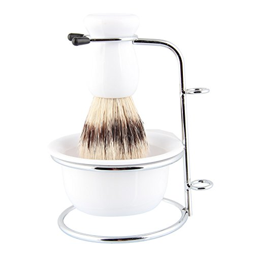 Beauty7 Professional Premium Boar Bristle Shaving Brush Set With Stand Soap Bowl...