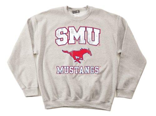 NCAA SMU Mustangs 50/50 Blended 8-Ounce Vintage Mascot Crewneck Sweatshirt, Large, Sport Grey (50% Polyester Crewneck)
