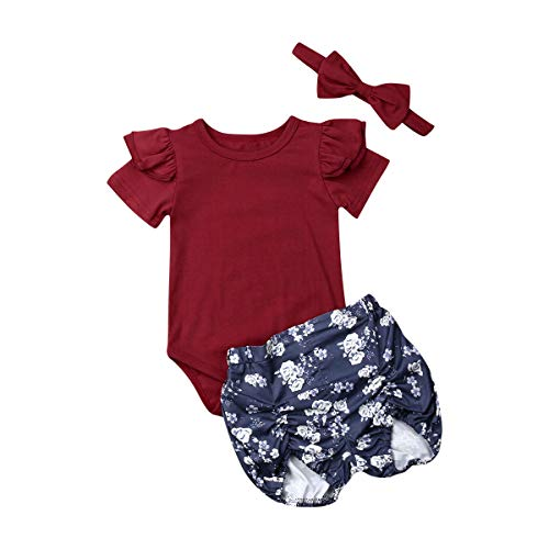 3PCS Infant Toddler Baby Girl Clothes Ruffle Romper
