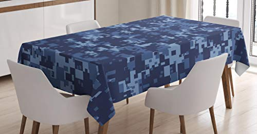 Ambesonne Camo Tablecloth, Militaristic Digital Effected Armed Forces Pattern Grunge Fashion in Blue, Dining Room Kitchen Rectangular Table Cover, 52 W X 70 L Inches, Dark Blue Light Blue