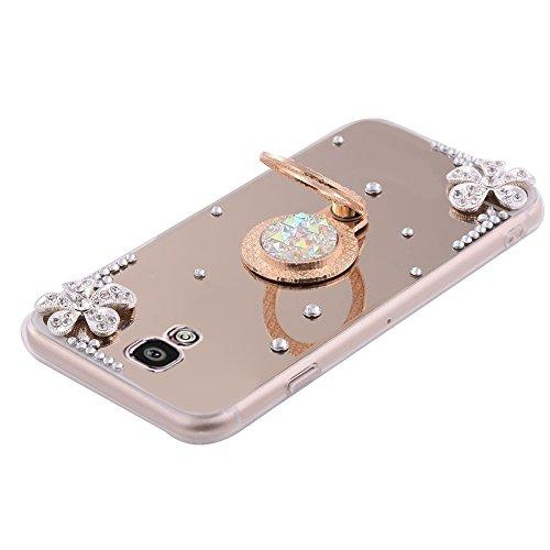 Funda Galaxy S4,Saincat TPU Silicona con Diseño 3D Carcasa Caso Diamante Piedras de Strass Brillo Bling Flores Espejo Funda Mirror Case con Ring Stand Holder Bumper Case Shockproof Slim Funda Lindo Bl Oro