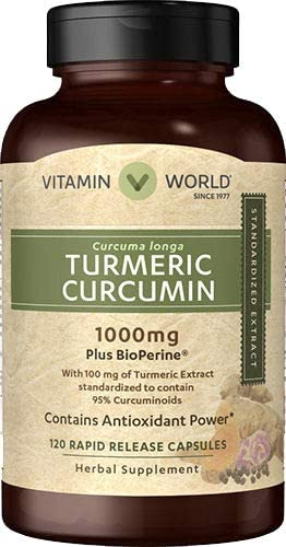 Vitamin World Turmeric Curcumin 1000mg 120 Capsules, with BioPerine Black Pepper Extract, Standardized 95 Curcuminoids, Gluten Free, Rapid-Release, Anti-inflammatory, Antioxidant, Joint Support