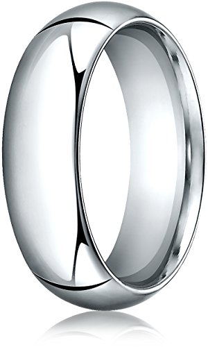 Benchmark 14K White Gold 7mm High Dome Heavy Comfort-Fit Wedding Band Ring , Size (Benchmark 14k White Gold Band)