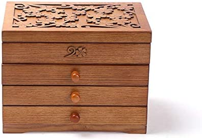 YLOVOW Caja de joyería de Madera Extra Grande/Caja de Joya Anillo de gabinete Caja de Almacenamiento de Regalos Organizador Hecho a Mano Talla de Cubierta,Talla de trébol,Cherry,4layers: Amazon.es: Hogar
