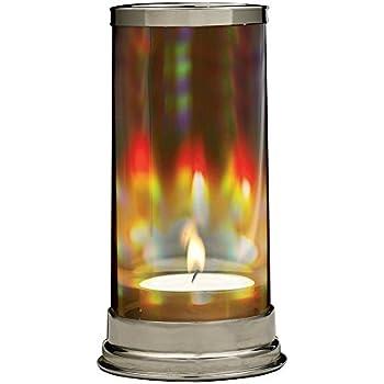 Rainbow Hurricane Candleholder - Crystal Prism Glass Cylinder