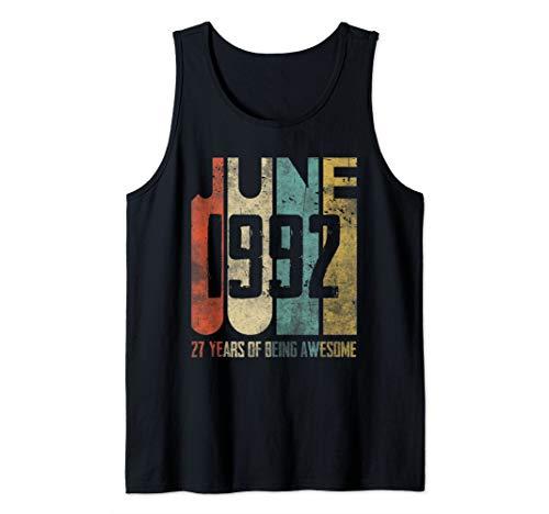 - June 1992 T-Shirt 27 Years Old 27th Birthday Gift Men Women Tank Top