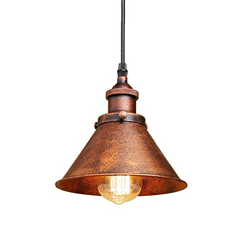 Hanging Light Copper (Lingkai Nodic Pendant Lighting Antique Copper Finished Single Light Hanging Pendant with Cone Shade)
