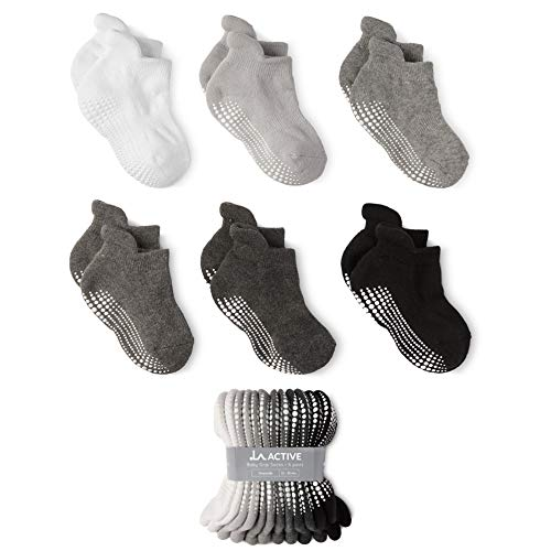 LA Active Baby Toddler Grip Ankle Socks - 6 Pairs - Non Slip/Skid Covered (Grayscale, 6-12 Months)