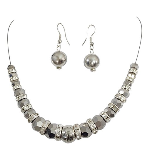 Gypsy Jewels Single Strand Illusion Wire Beaded Necklace Dangle Earrings Set (Hematite -