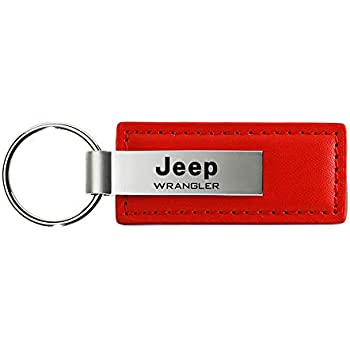 DanteGTS Jeep Grill Leather Key Chain Red Rectangular Key Ring Fob Lanyard
