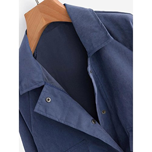 Femmes Longues Casual Blouson Bouton Fille Casual d'Aviateur Cardigan Veste Printemps Automne Jacket Sportif Covermason Bleu Court Femme Manches rYWA6Frq8n