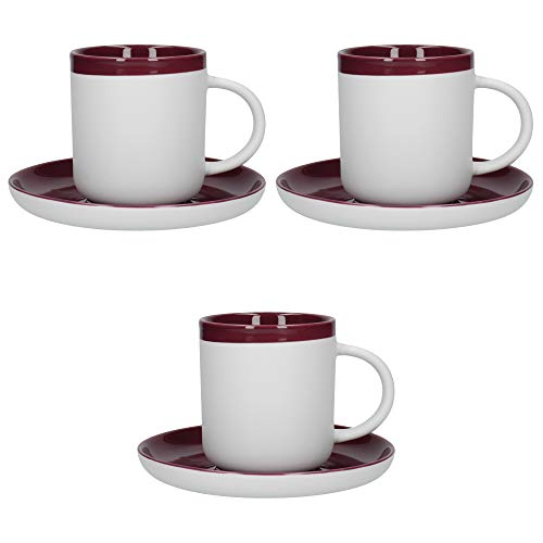 La Cafetière Barcelona Coffee Cup and Saucer Set, Ceramic, Plum, 280 ml, Set of 3