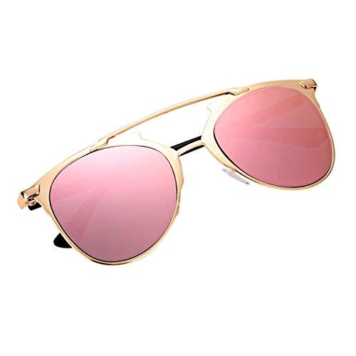 sol de lente de espejo estilo gafas marco metal gafas Vintage Rosa gafas unisex q4Ugp