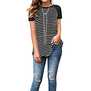 Adreamly Women's Black and White Striped Short Sleeve Baseball T Shirt Blouse Tunic Tops Black Small