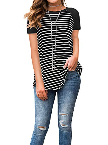 Adreamly Women's Black and White Striped Short Sleeve Baseball T Shirt Blouse Tunic Tops Black Medium
