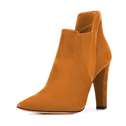 FSJ Women Elegant Pointed Toe Ankle Boots Chunky Heels Faux Suede Slip On Shoes For Comfort Size 4-15 US Tan