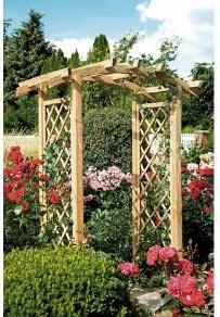 Pergola/Rose arco con enrejado/pérgola de madera con degradado arco y un rendimiento ancho de 100 cm de madera de druckimprägnierten: Amazon.es: Jardín
