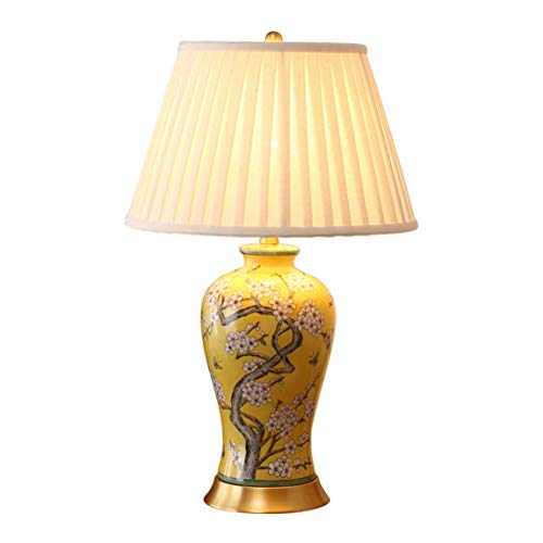 Carl Artbay Home Table Lamp Table Lamp, Hand Painted Plum Blossom All Copper Ceramic Lamp, American Bedroom Bedside Lamp High-end Decorative Lights ()