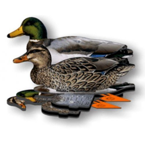 Mallard Duck Decoy -  6-Pack Foldable Mallard Ducks for Hunting -  Land and Water Use -  Waterproof, Shot-Proof -  Realistic UV Certified Decoy Paints -  Includes Anchors, Anchor String and Fudslinger
