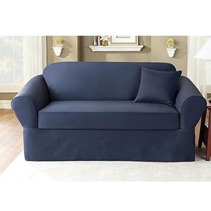 amazon com sure fit twill supreme 2 piece sofa slipcover sapphire rh amazon com Fitted Sofa Slipcovers 3 Piece Sofa Slipcover