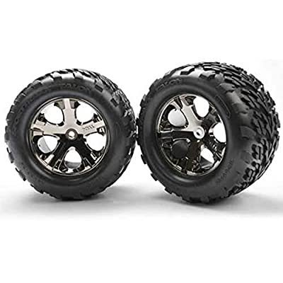 Traxxas Stampede 2wd XL-5 4 TALON TIRES & ALL STAR BLACK CHROME 12mm WHEELS: Toys & Games
