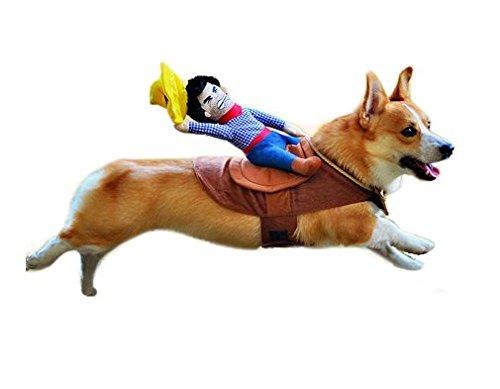 MorningRising Pet Dog Halloween Cowboy Funny Costume Dog Riders Clothes (M)