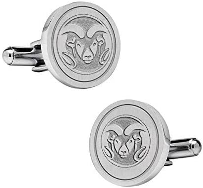 Natural Finish Sterling Silver Round Top Cufflinks College Jewelry Colorado State University Rams Cufflinks