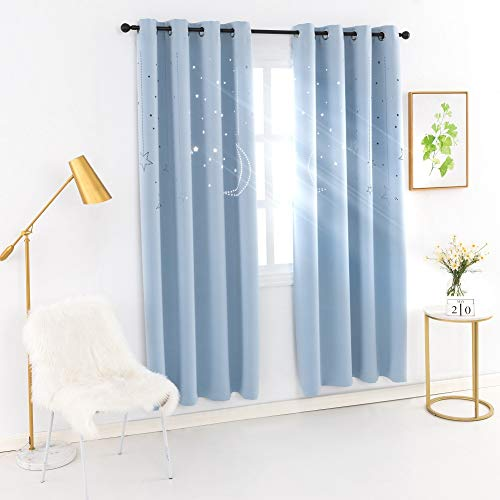 MANGATA CASA Kids Star Blackout Curtains Grommet Thermal 2 Panels for Bed Room,Cutout Galaxy Window Curtain Darkening Drapes for Nursery Living Room(Baby Blue 52x84in) (Windows Panel Curtains Grommet)