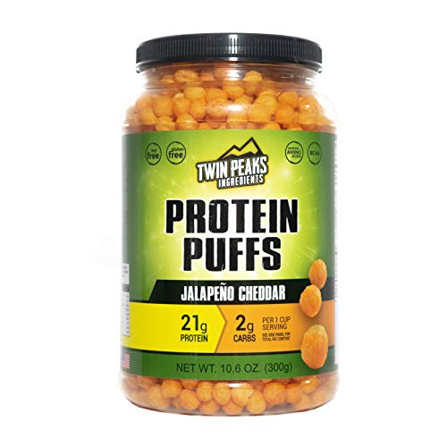 Twin Peaks Low Carb, Allergy Friendly Protein Puffs, Jalapeno Cheddar (300g, 21g Protein, 2g - Doctors Diet Carbrite