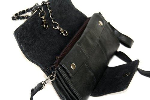 Cuir soirée, embrayage et sac bandoulière en cuir véritable, mod 4001 noir / brun