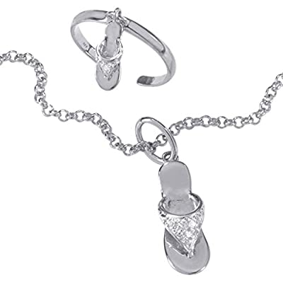 "Top White Diamond Accent Platinum over .925 Silver Flip-Flop Ankle Bracelet Toe Ring Set 9"" hot sale"