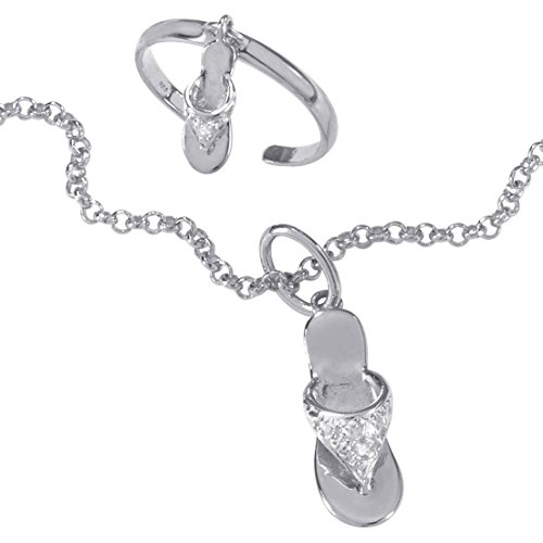 (White Diamond Accent Platinum over .925 Silver Flip-Flop Ankle Bracelet Toe Ring Set 9