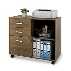 Features: * Multi-Functional - Printer stand perfect in office and other occasions, spacious desktop provides enough space to support printer or scanner;  * Large Storage Capacity - 2 top drawers provide the storage space for small items,1 fu...