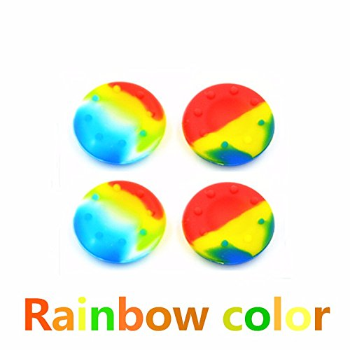 4 x Rainbow Controller Analog Thumbstick Grip Cover Caps For Sony PS3 PS4 XBOX ONE 360 Wii U (Ps3 Controller Rainbow)