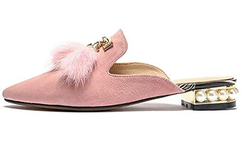 Pantofole Da Donna Di Larosa Soffici Pantofole Con Zeppa Di Perle Nappe Scarpe Piatte Rosa