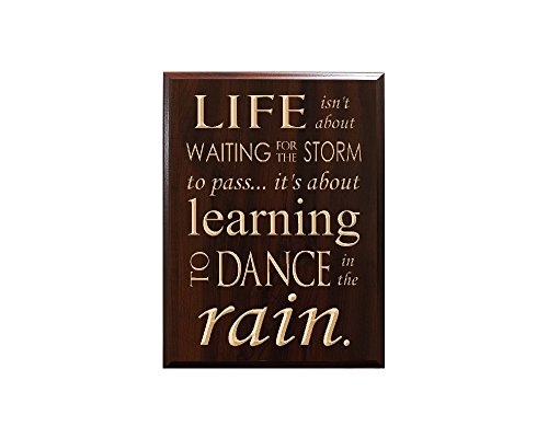 TimberCreekDesign Life isn't About Waiting for The Storm to Pass... it's About Learning to Dance in The rain. Decorative Carved Wood Sign Quote, Faux Cherry
