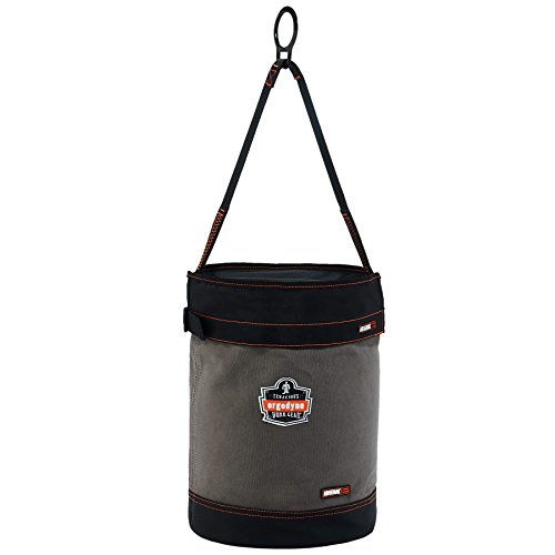 (Ergodyne Arsenal 5960T Large Canvas Tool Bucket with Cover and Attachment Rings, Gray)