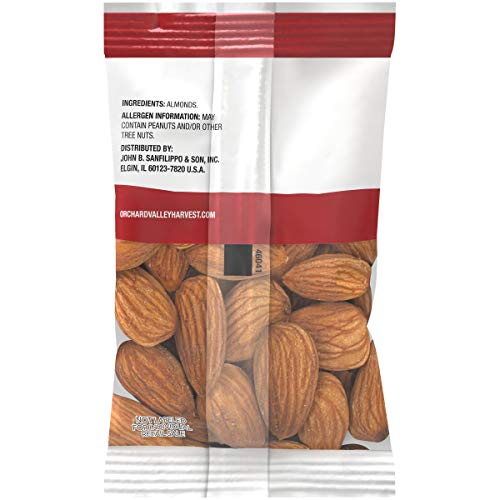 ORCHARD VALLEY HARVEST Whole Natural Almonds, 1 oz (Pack of 8), Non-GMO, No Artificial Ingredients